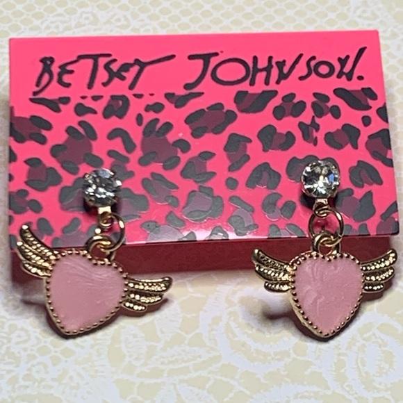 Betsey Johnson Style - Pink Heart Wings Earrings